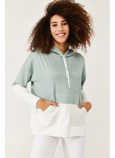 XHAN Mint Parçalı Sweatshirt 1Kxk8-44575-58 Yeşil